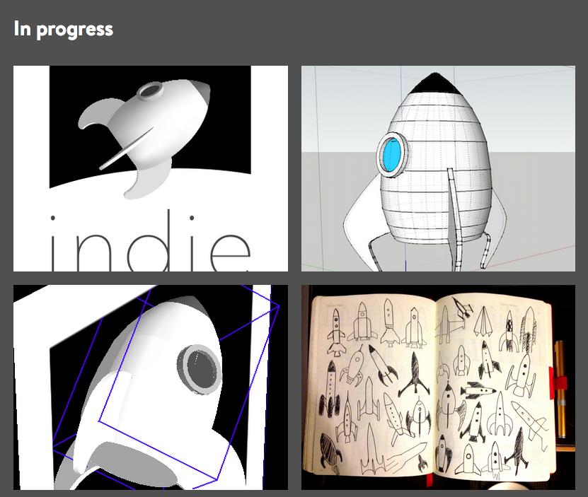 four Dribbble shots showing the rocket logo design process