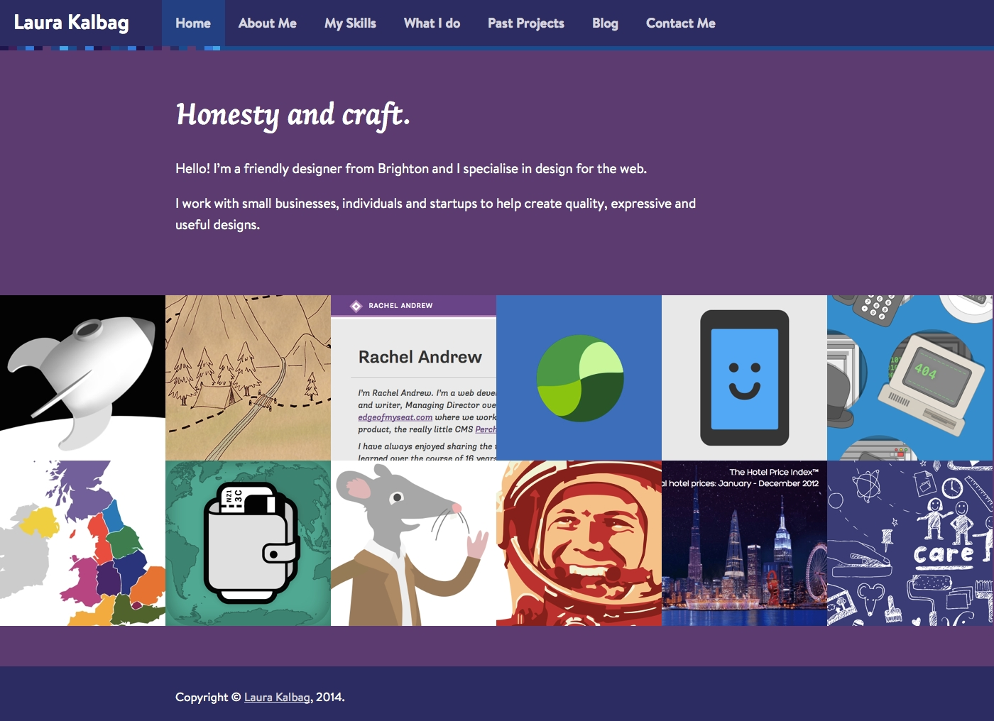 New version of the homepage, with just an introduction and larger portfolio images