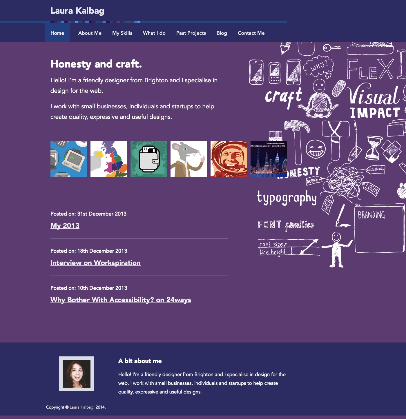 Previous homepage layout, with portfolio images, blog posts and a messy illustration