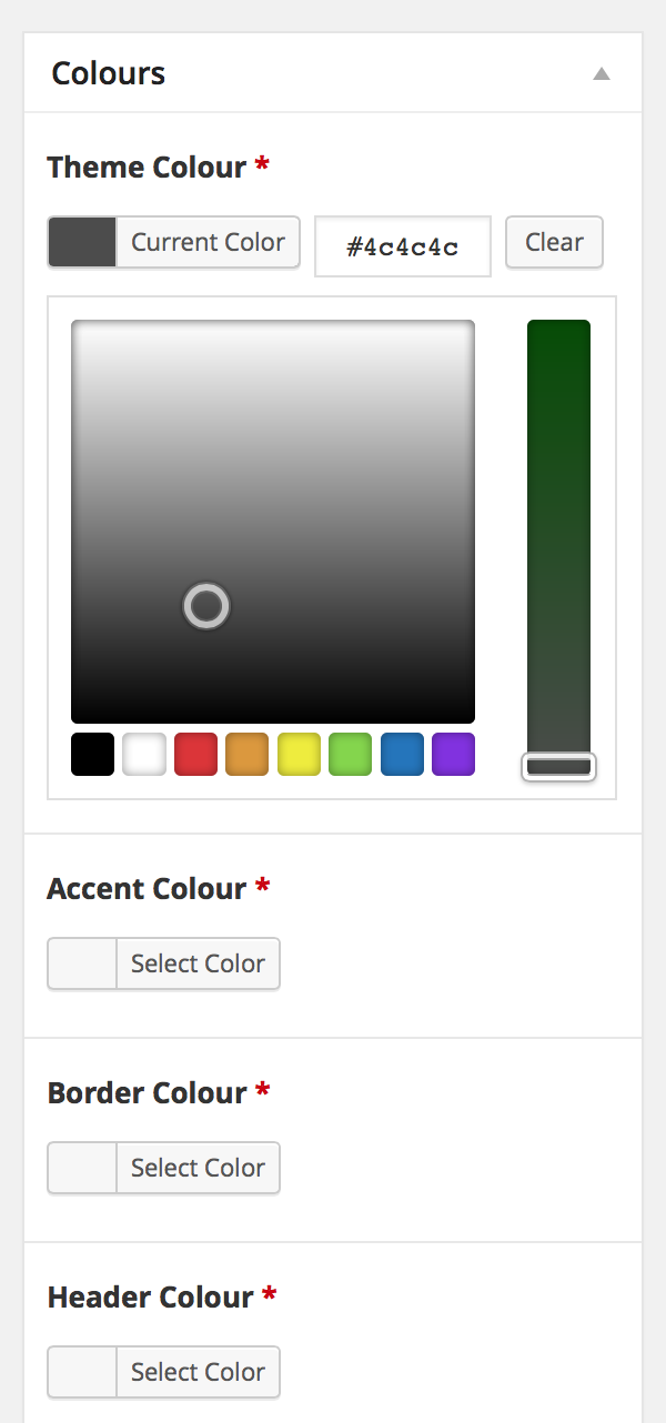 Screenshot of four colour picking areas