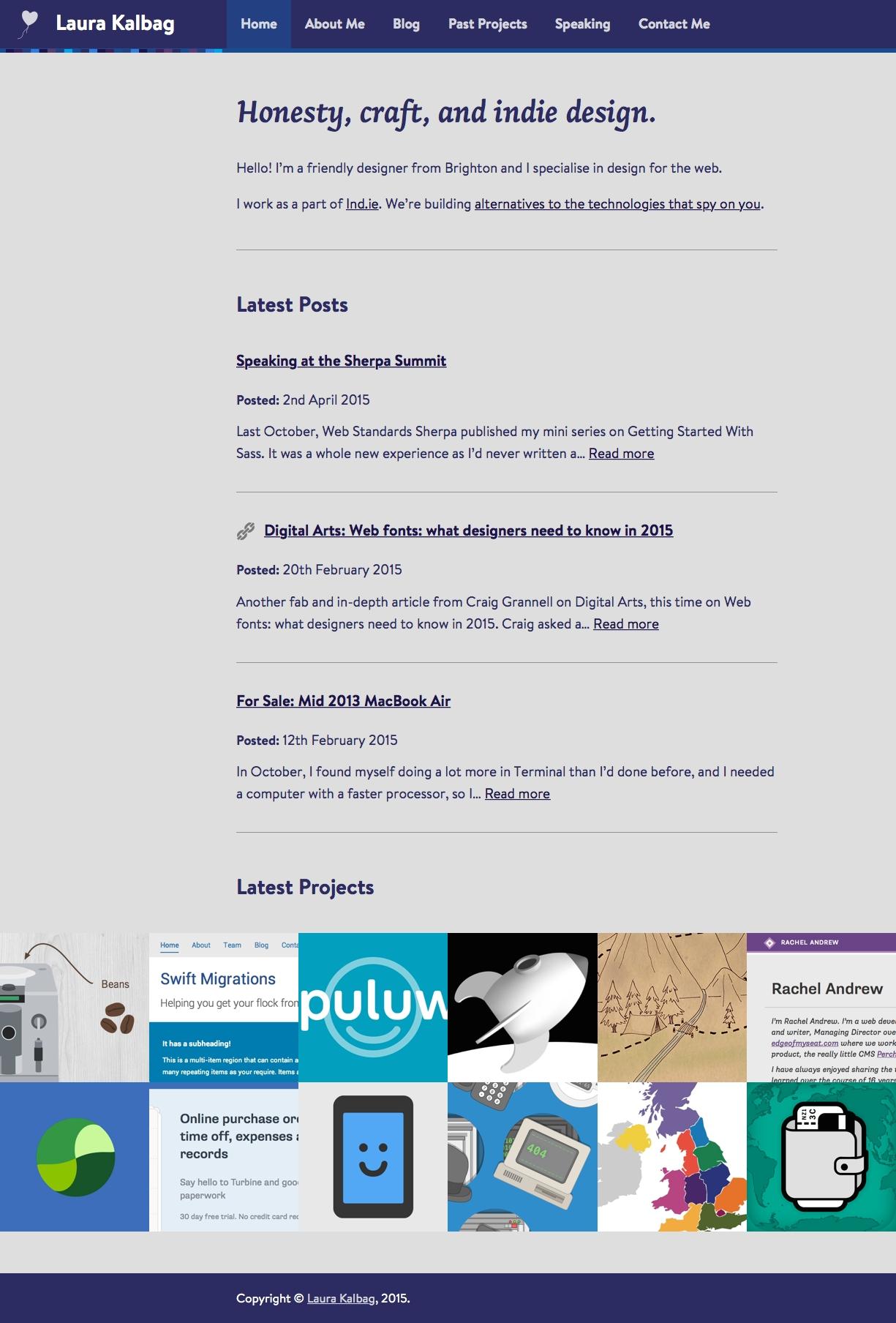 Screenshot of laurakalbag.wpengine.com homepage