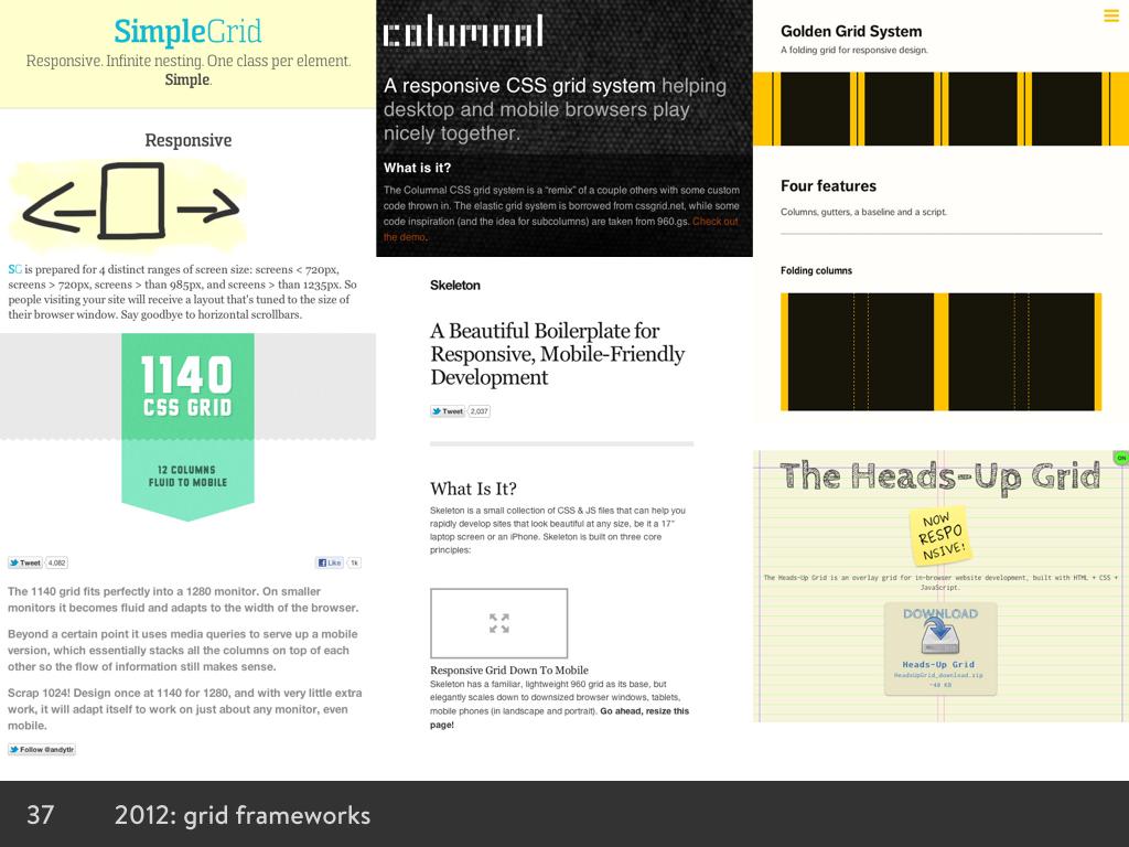 Screenshots of lots of grid frameworks
