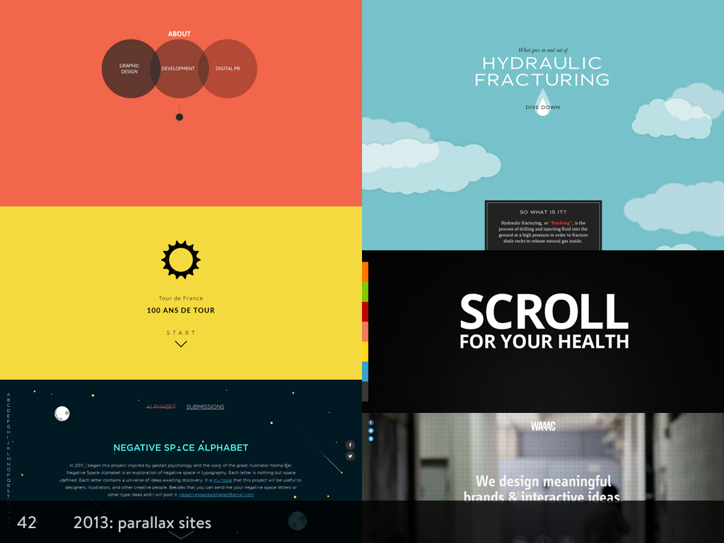 Screenshots of websites that use parallax scrolling
