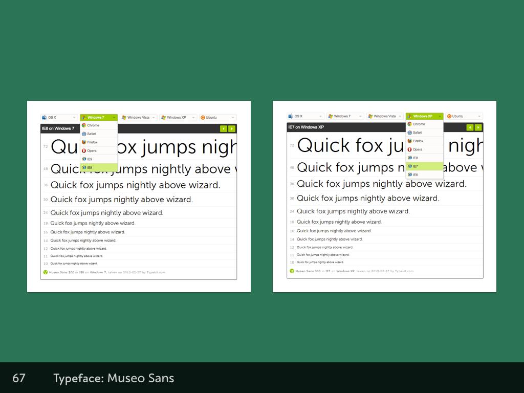 Screenshots of Typekit's interface for cross-browser rendering