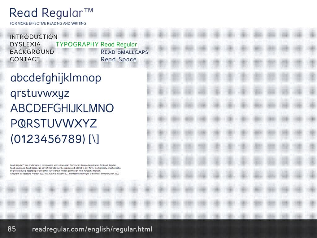 Read Regular typeface