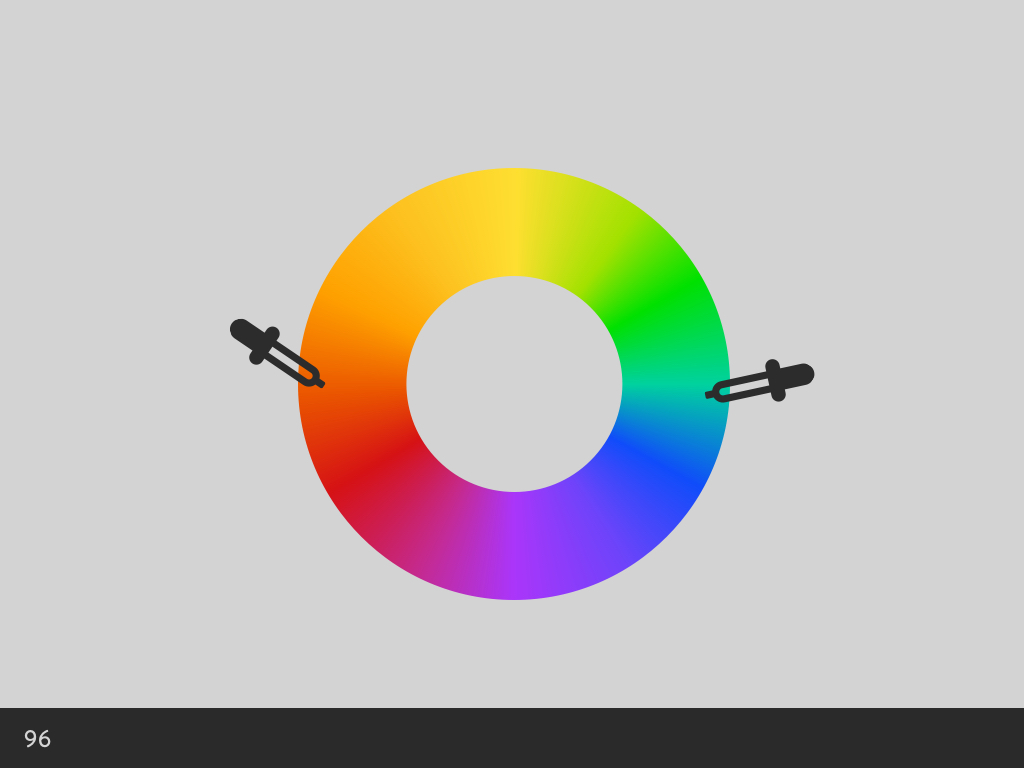 Colour picking with droppers on opposite sides of the colour wheel