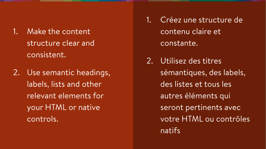 Accessibility guidelines for content hierarchy