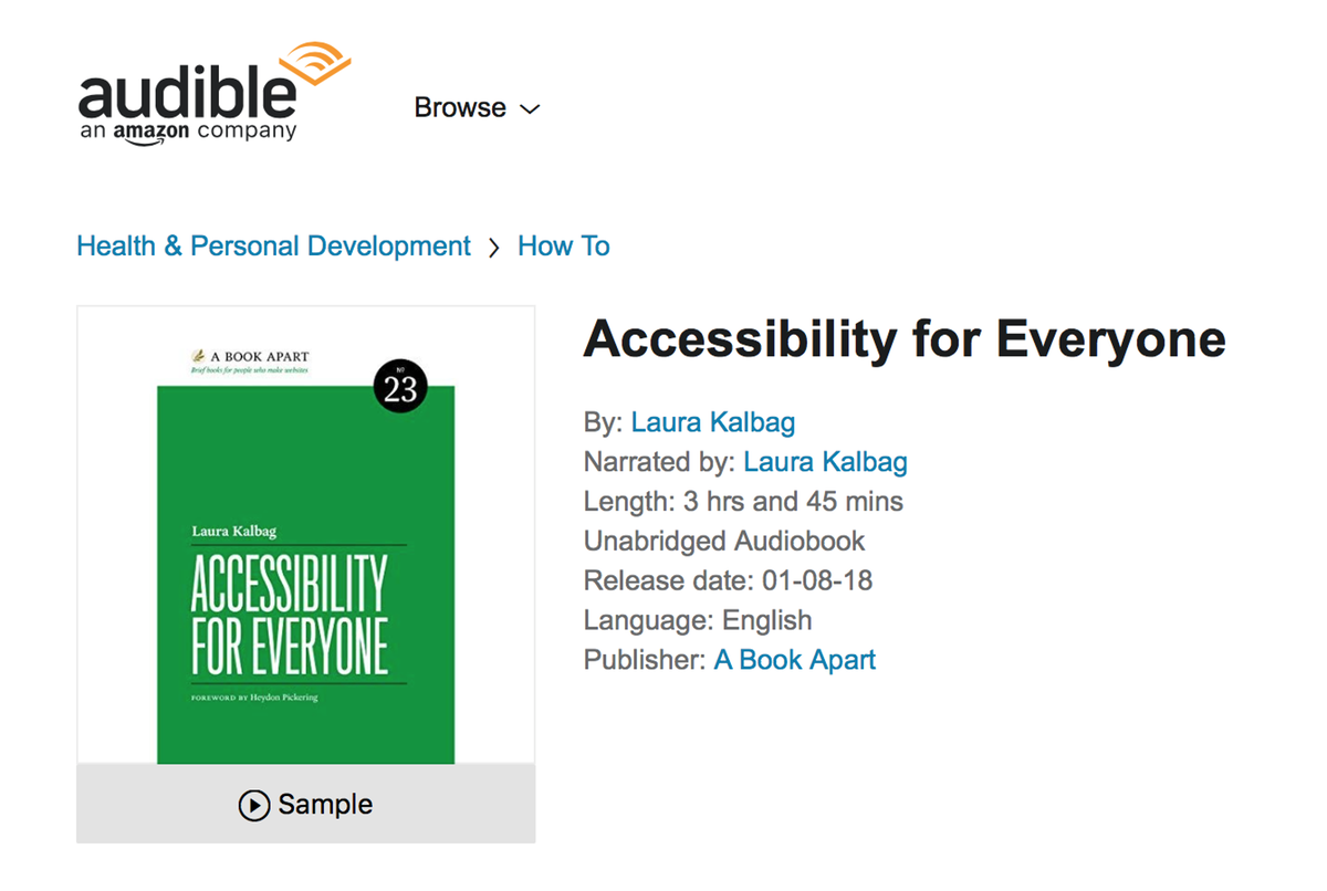 screenshot of the Audible store showing Accessibility For Everyone audiobook available to buy
