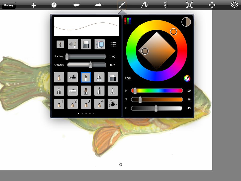 the brushes palette in SketchBook Pro