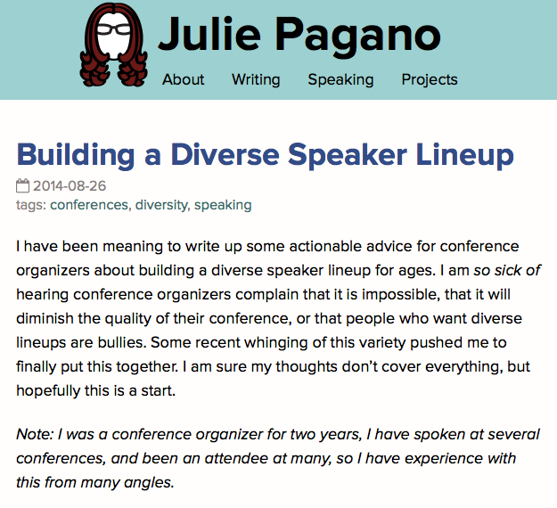 Julie Pagano: Building a Diverse Speaker Lineup