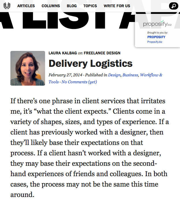 Delivery Logistics on A List Apart
