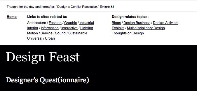 screenshot of the Design Feast website