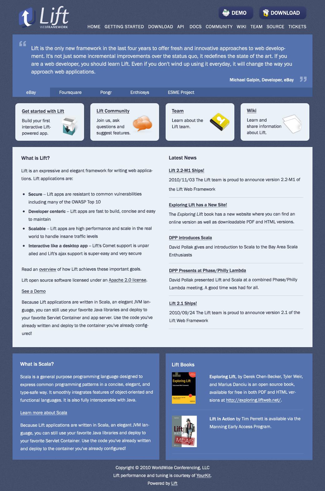 my redesign of liftweb.net