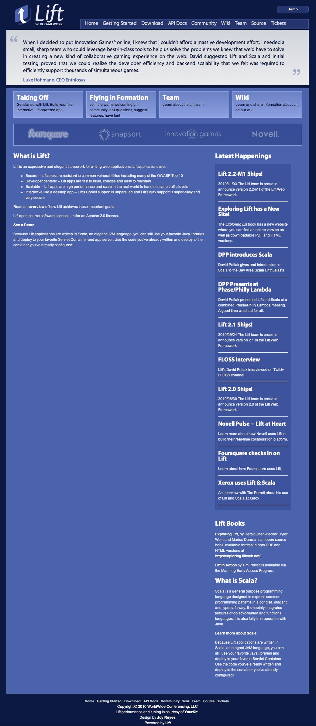 liftweb.net original homepage design