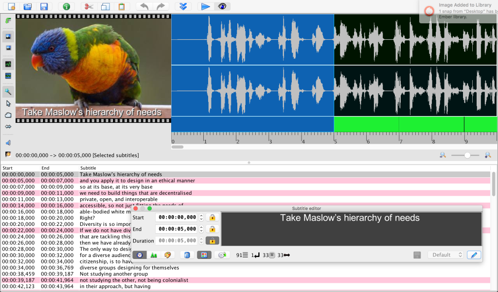 Screenshot of Jubler with highlighted wave forms for subtitle editing