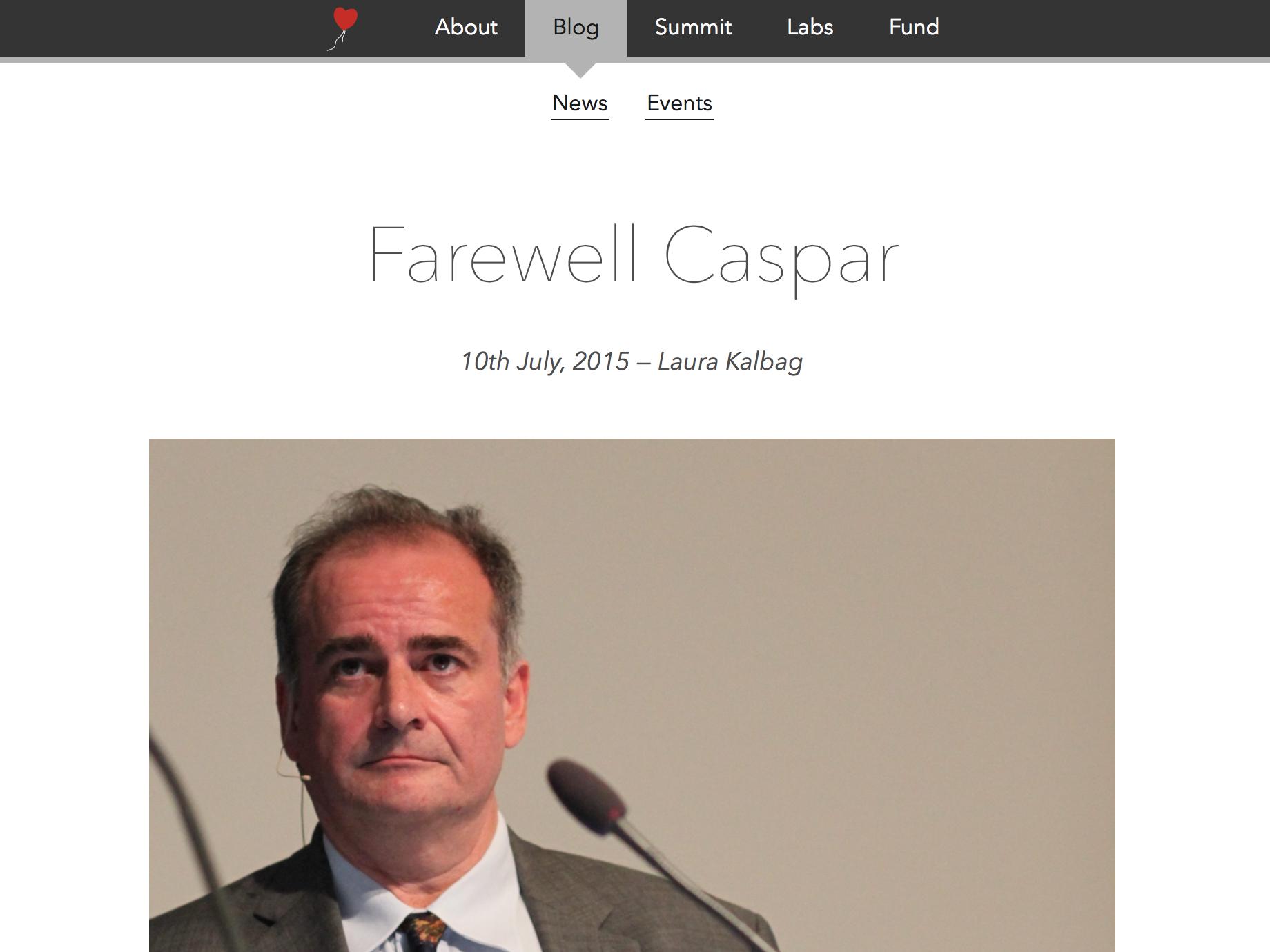 Screenshot of Farewell Caspar Ind.ie blog post