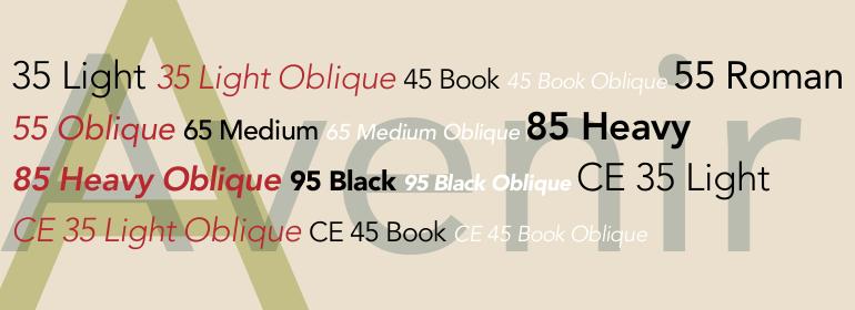 Avenir typeface sample