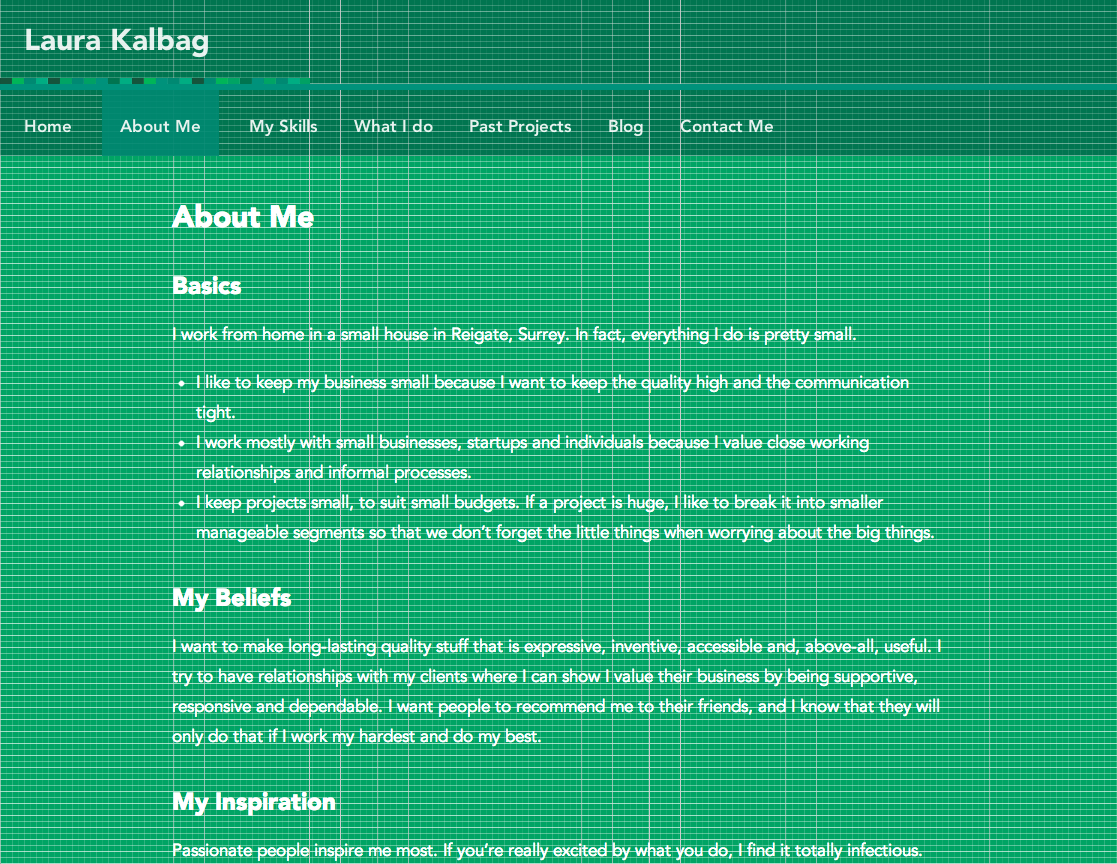Medium-width About page