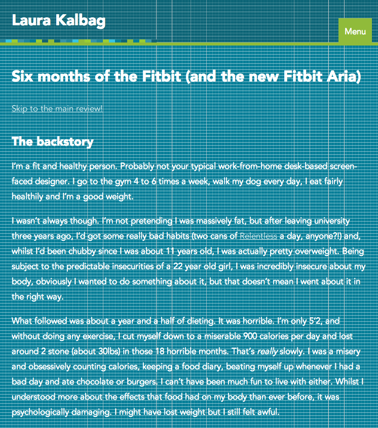 Smaller-width Blog page