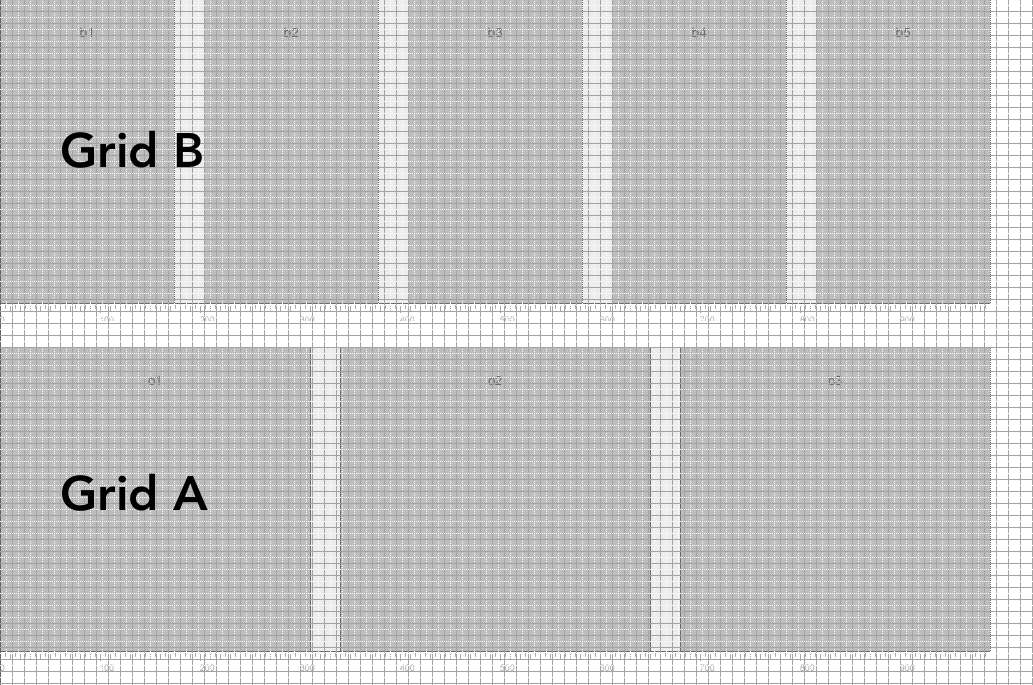Grid A and Grid B overlaid on my base unit grid