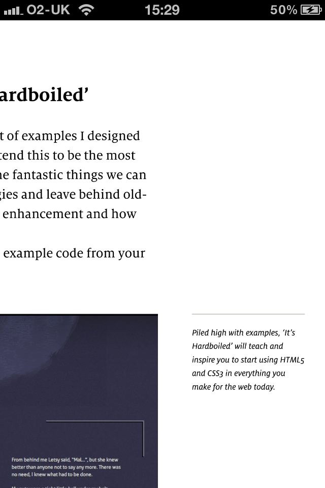 reading a sidenote from Hardboiled Web Design using iBooks on the iPhone 4