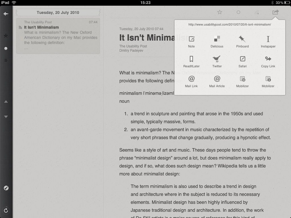 actions on Reeder for iPad