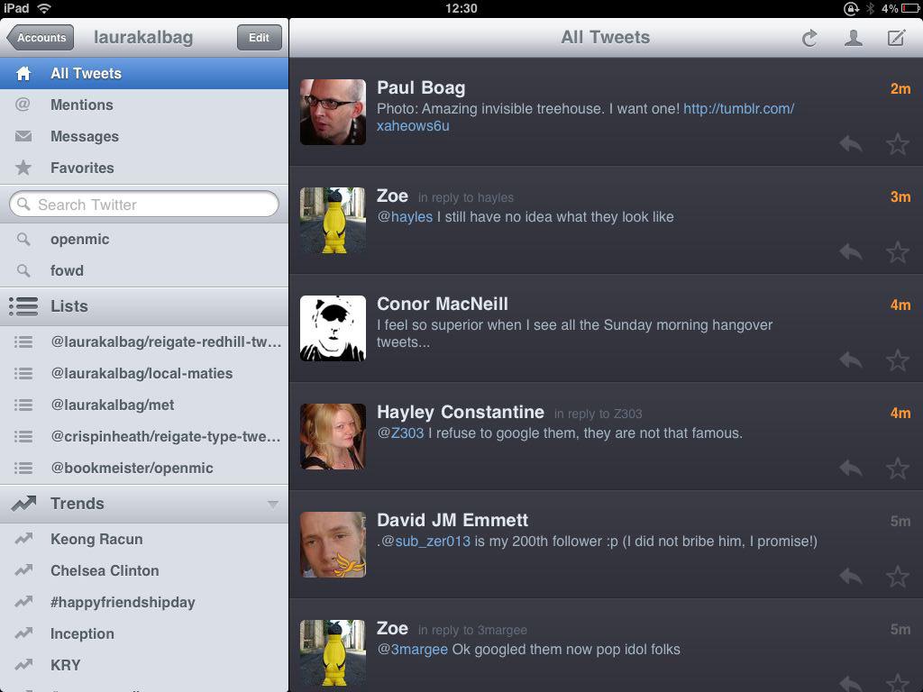 Twitterrific on iPad