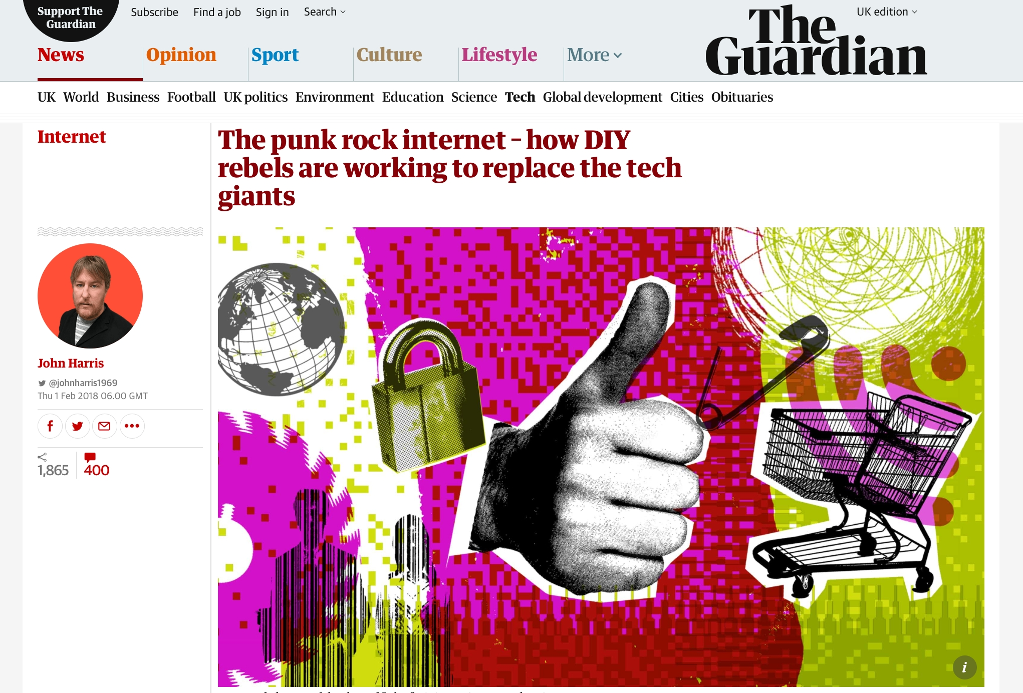 Screenshot of the top of the Guardian article ''The punk rock internet – how DIY rebels are working to replace the tech giants'
