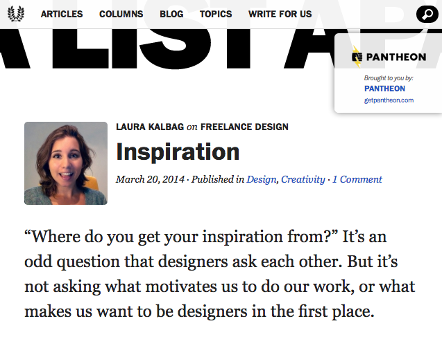 Column on Inspiration on A List Apart