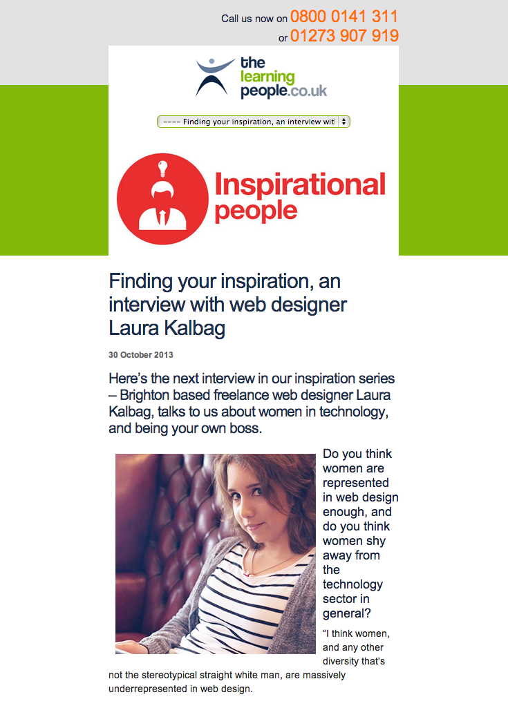 Screenshot of The Learning People: Finding your inspiration, an interview with web designer Laura Kalbag