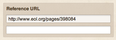 Reference URL input on Project Noah, where one URL input is filled in and the other is focused but empty
