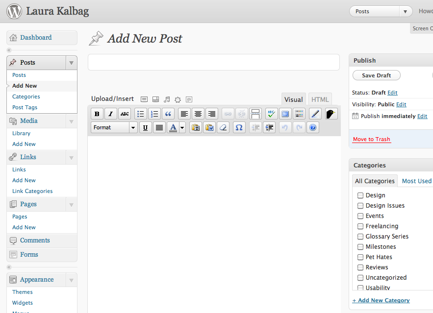 WordPress 3.1 post editor with no title label