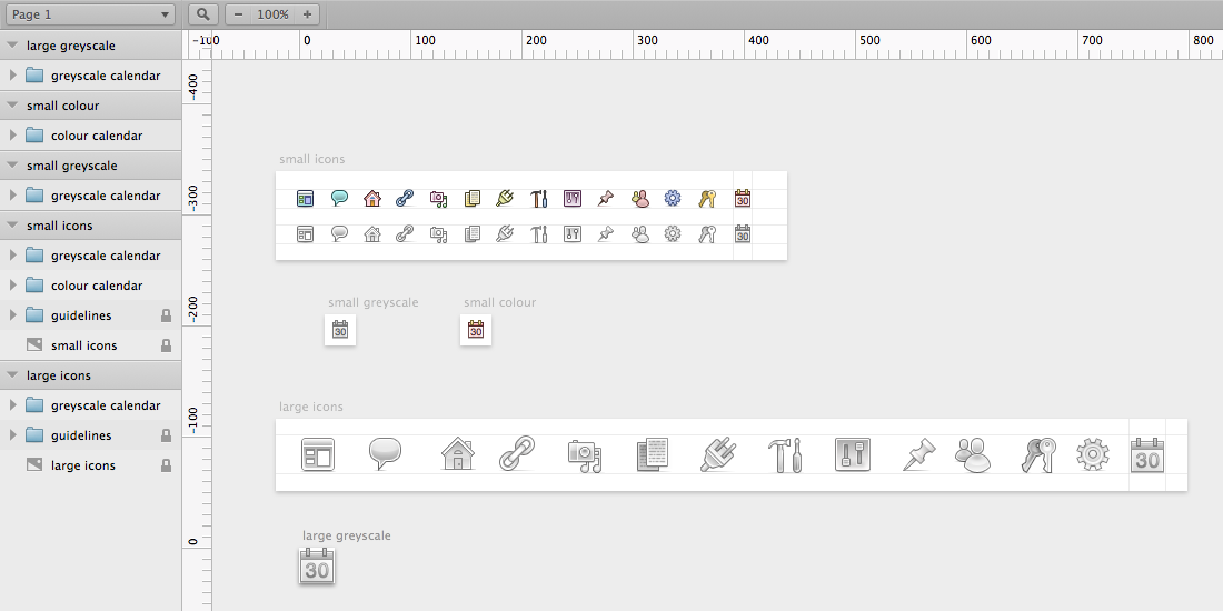 screenshot of the Sketch app showing WordPress admin icons on different artboards for different sizes