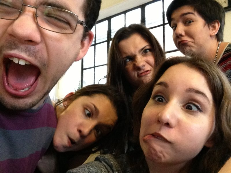 My family pulling stupid faces