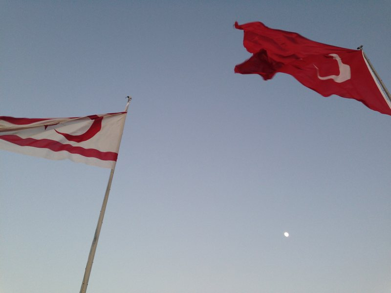 Two flags at the Northern point of North Cyprus
