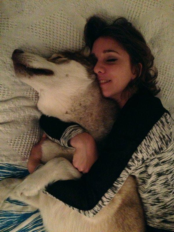 Me cuddling Oskar, he's bigger than me