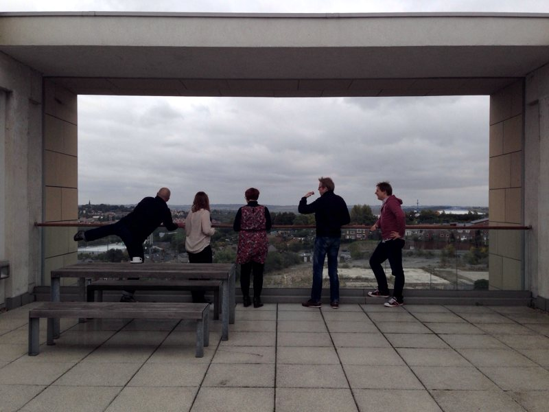 Workshop attendees on a rooftop in Barnsley