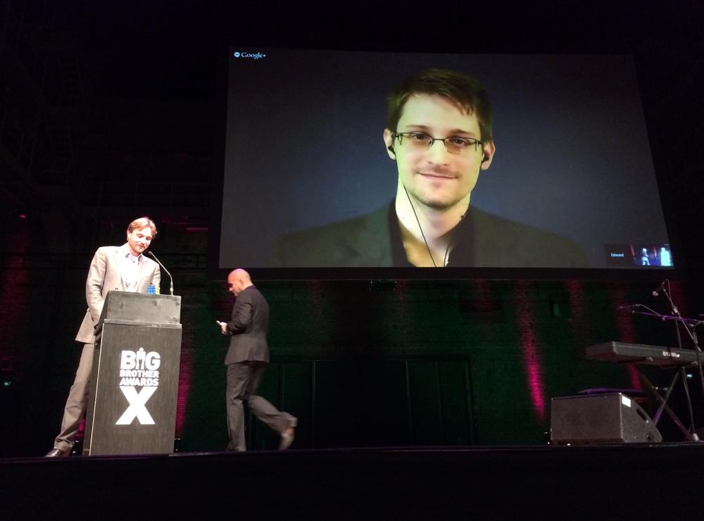 Edward Snowden giving a talk via live feed