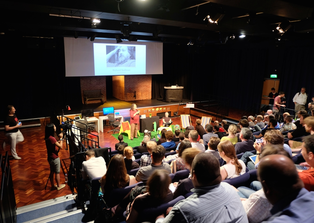 Richard Stallman and Aral speaking at Indie Tech Summit