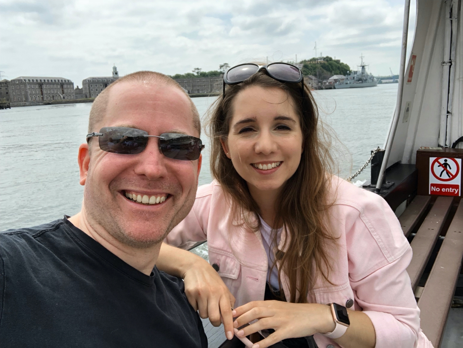 Me and Aral sitting on a tour boat.