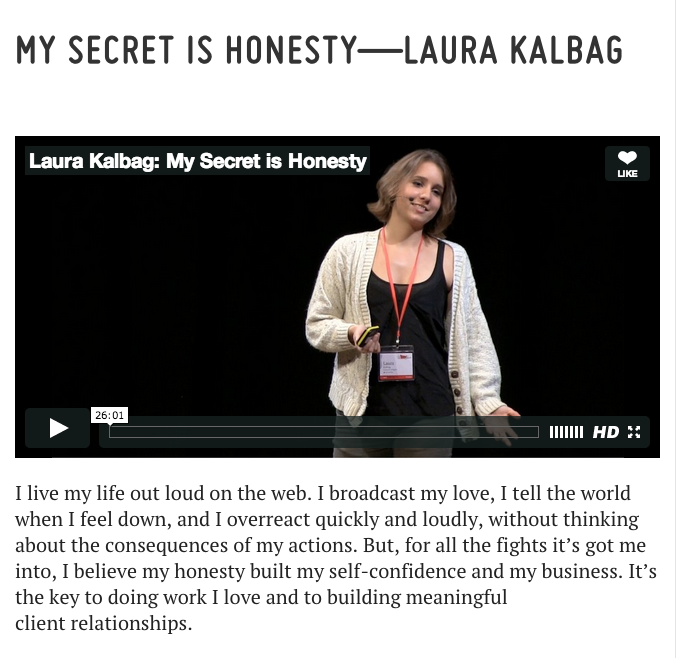 My Secret Is Honesty - Video of Laura Kalbag at Dare conference