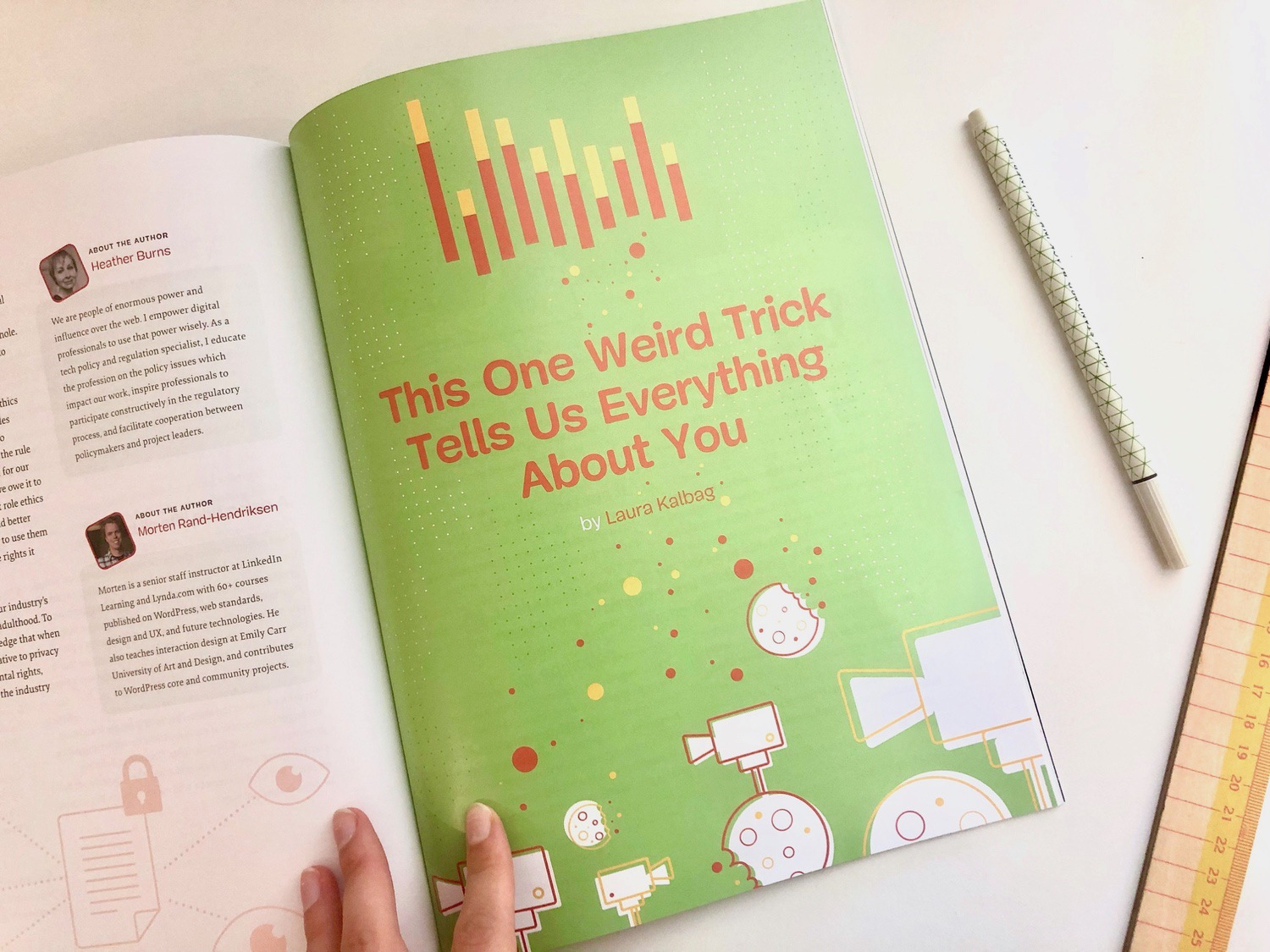 "Inside pages of printed magazine showing my essay title page titled ""This One Weird Trick Tells Us Everything About You""."