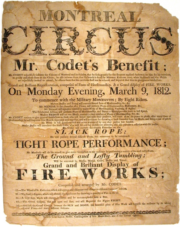 Old Victorian circus poster, lots and lots of fonts