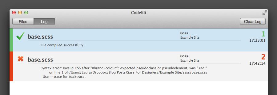 screenshot of Codekit showing an error in the Sass