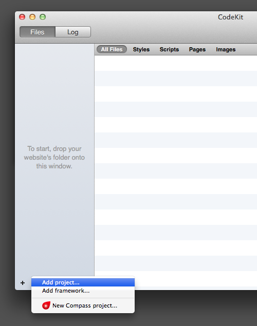 screenshot of adding a new project to the Files pane in Codekit