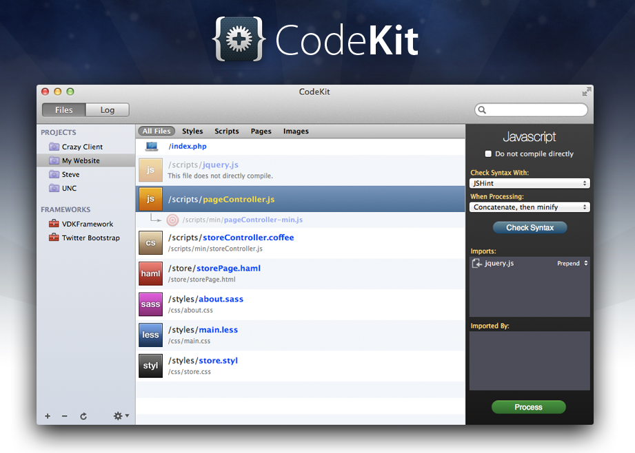 screenshot of the Codekit website