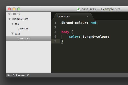 screenshot showing the /css folder created by Codekit