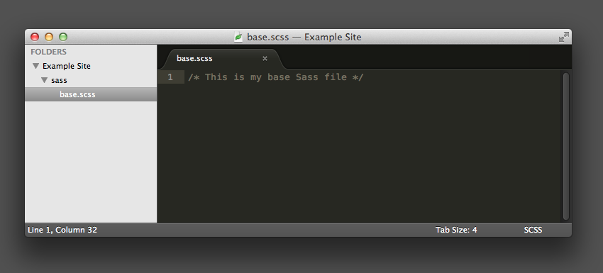 screenshot showing .scss file in the /sass folder
