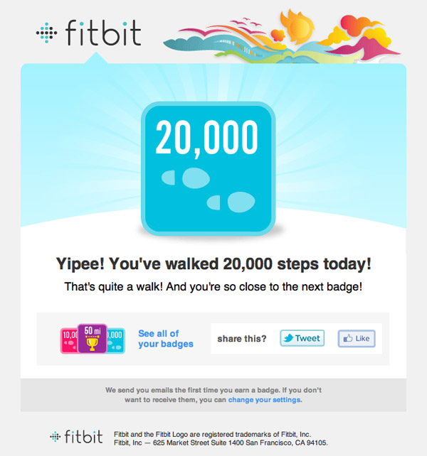 A Fitbit badge notification email