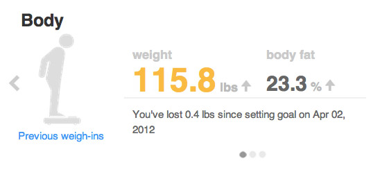 My weight as recorded by the Aria scales